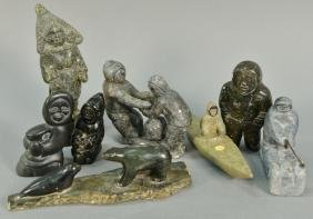 Eight Inuit Eskimo carved figures to include Inukjuak