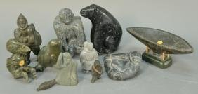 Group of ten Inuit Eskimo carvings to include