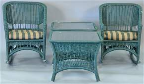 Green wicker style four piece group to include two