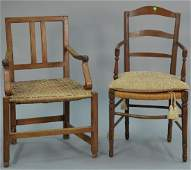 Two Continental walnut armchairs with rush seats