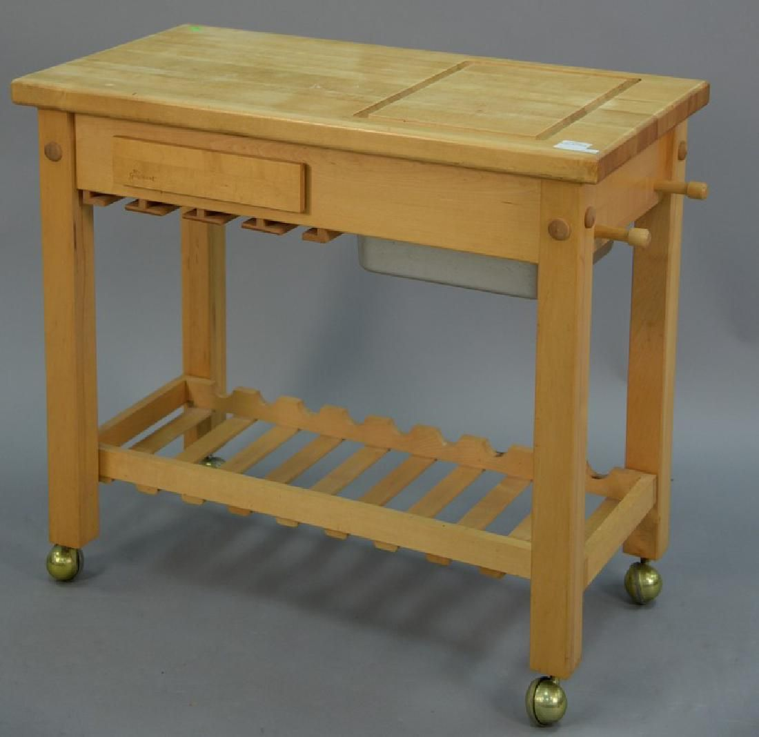 Le Gourmand Maple Butcher Block Cart Ht 30in Top Jun 03 2017 Nadeau S Auction Gallery In Ct