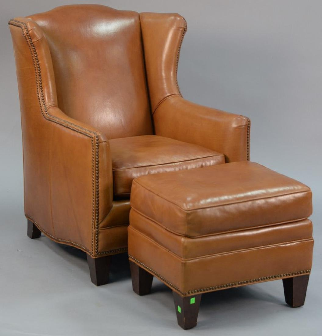 Henredon tan leather upholstered wing chair with