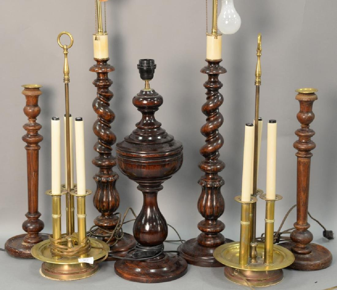 Seven table lamps to include five wood turned lamps