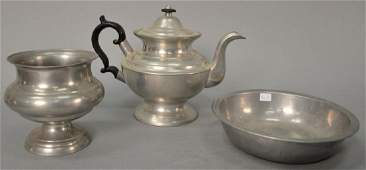 Three piece lot of pewter to include Boardman Hart