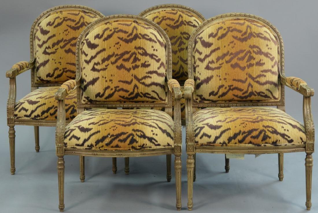 "Set of four Henredon Louis XVI style armchairs ""Desert"