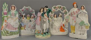 Five large Staffordshire figures including two double