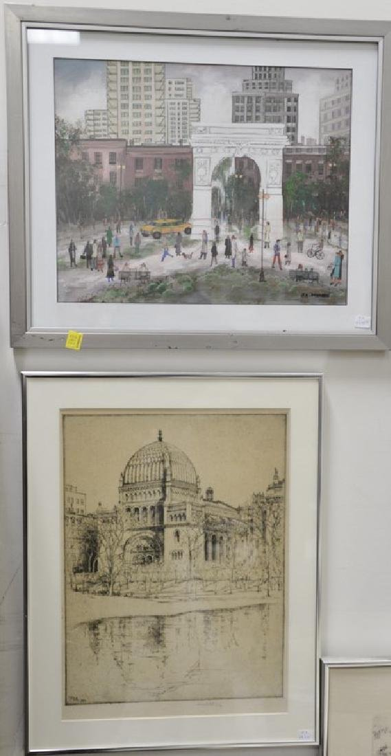 Twelve piece lot with a group of ten framed etchings,