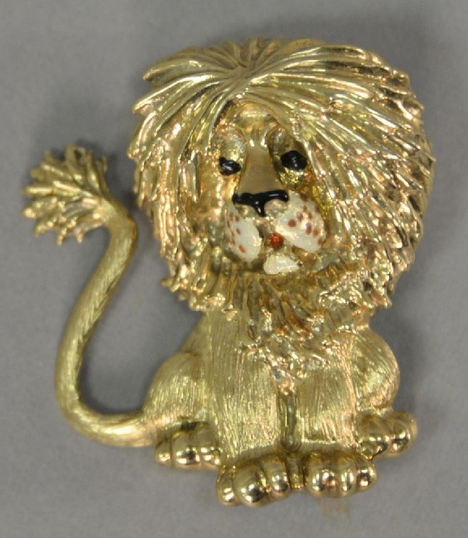 Martine 14K lion pin, enameled face and eyes, marked