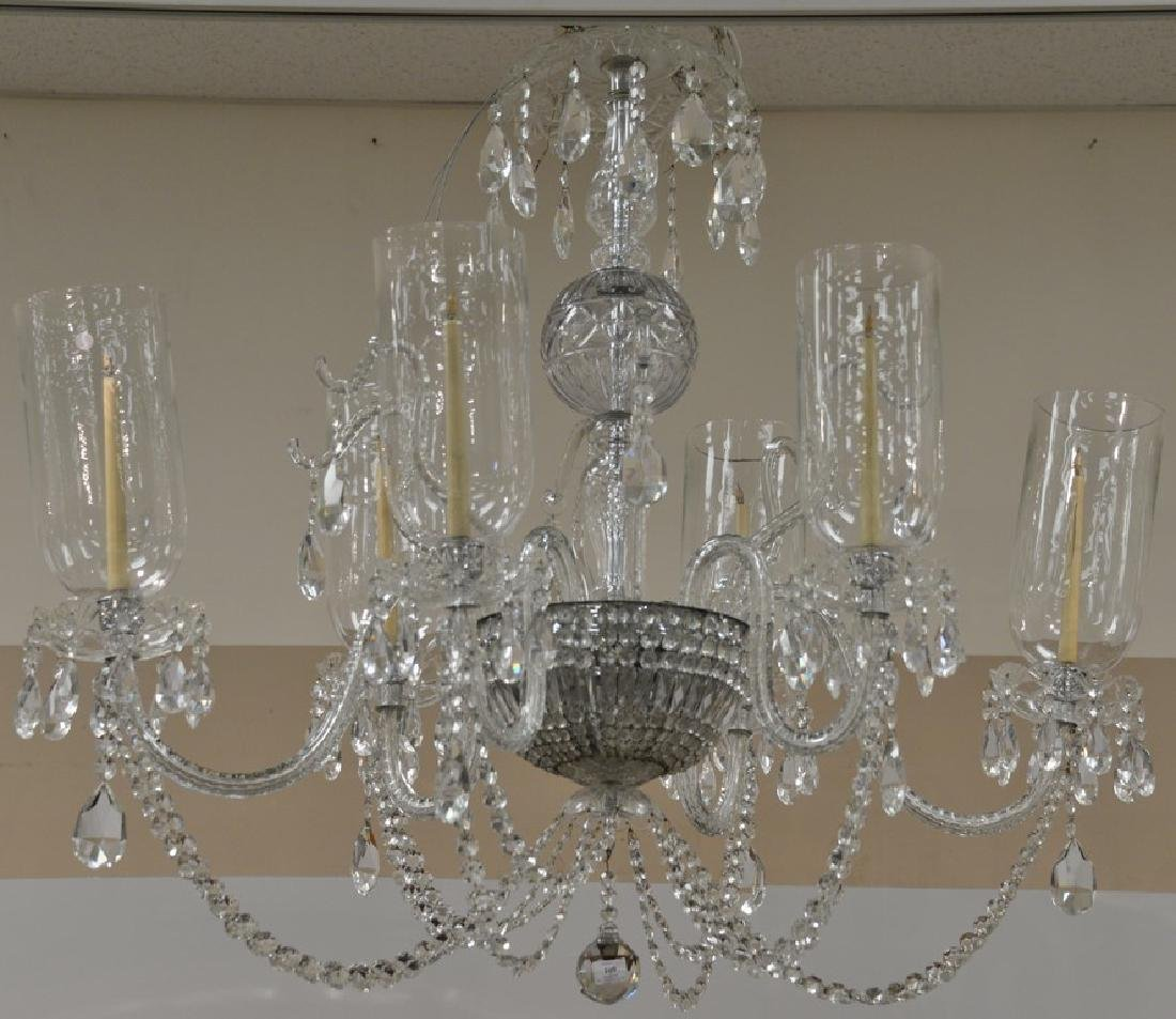Cut colorless chandelier with six arms having hurricane
