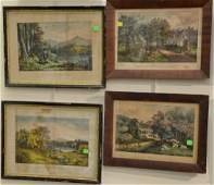 Group of eight Currier colored lithographs in period