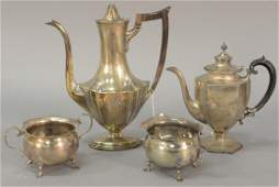 Four piece sterling silver lot to include two teapots