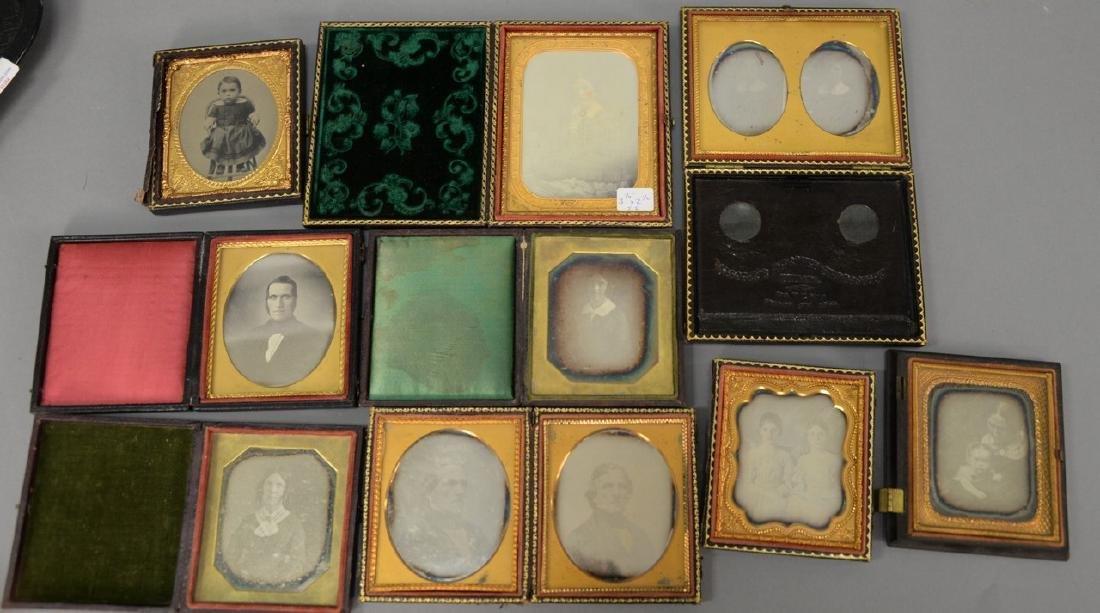 Eleven piece lot with ten daguerreotypes in eight