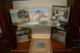 Eight small oil paintings including Charles E Duncan