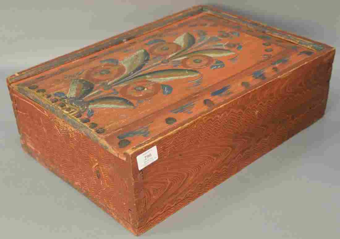 Paint decorated box with slide top, painted with