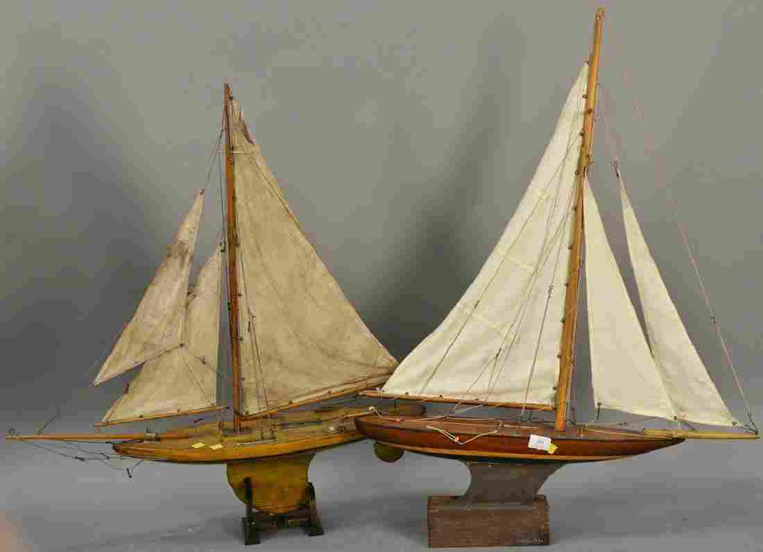 Two large vintage wood pond boats. lg. 29 1/2in. and 30