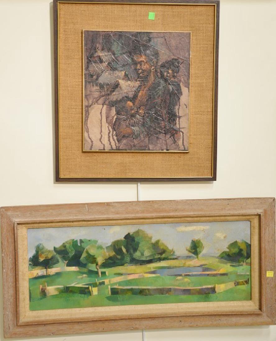 Five Mid-Century Modern paintings including Ella D.