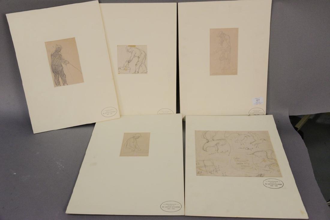 Set of five William Lester Stevens (1888-1969) pencil