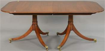 Custom double pedestal dining table with burlwood