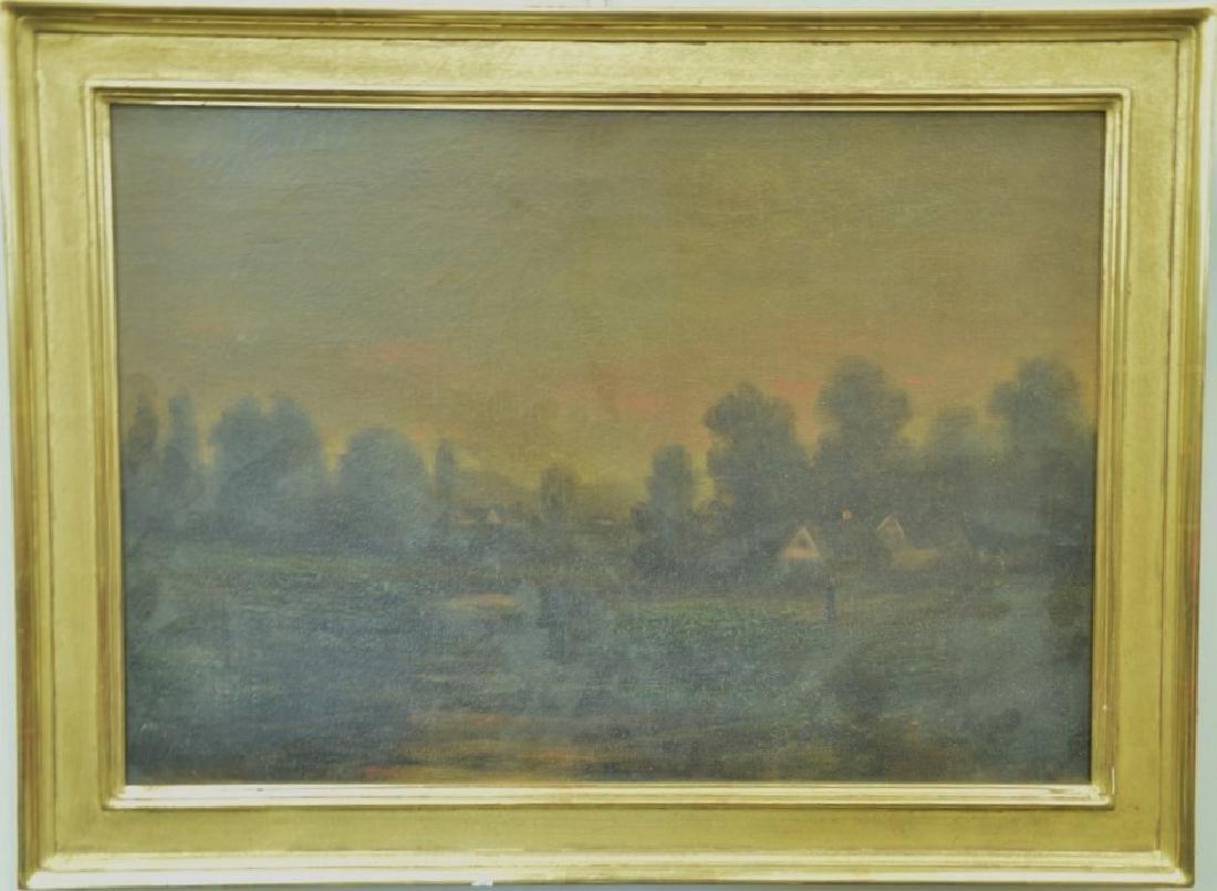 19th century oil on canvas, Sunset Night, signed