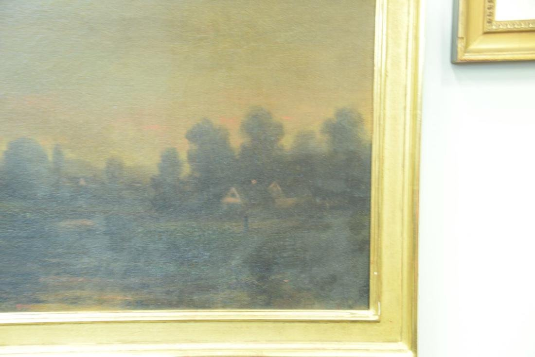 19th century oil on canvas, Sunset Night, signed - 2