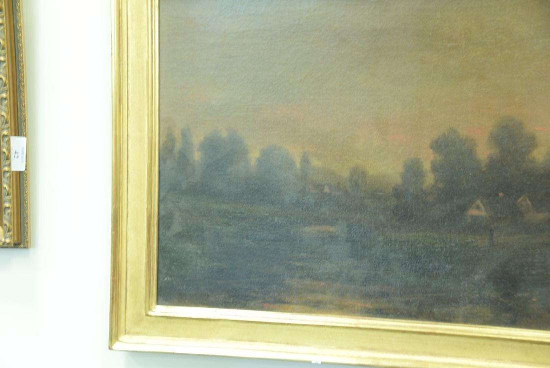 19th century oil on canvas, Sunset Night, signed - 3