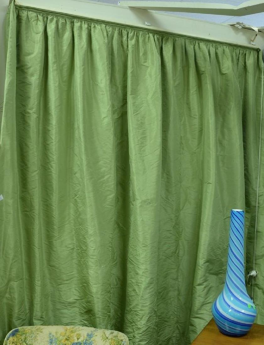 Custom green silk drapes, lined curtains, window