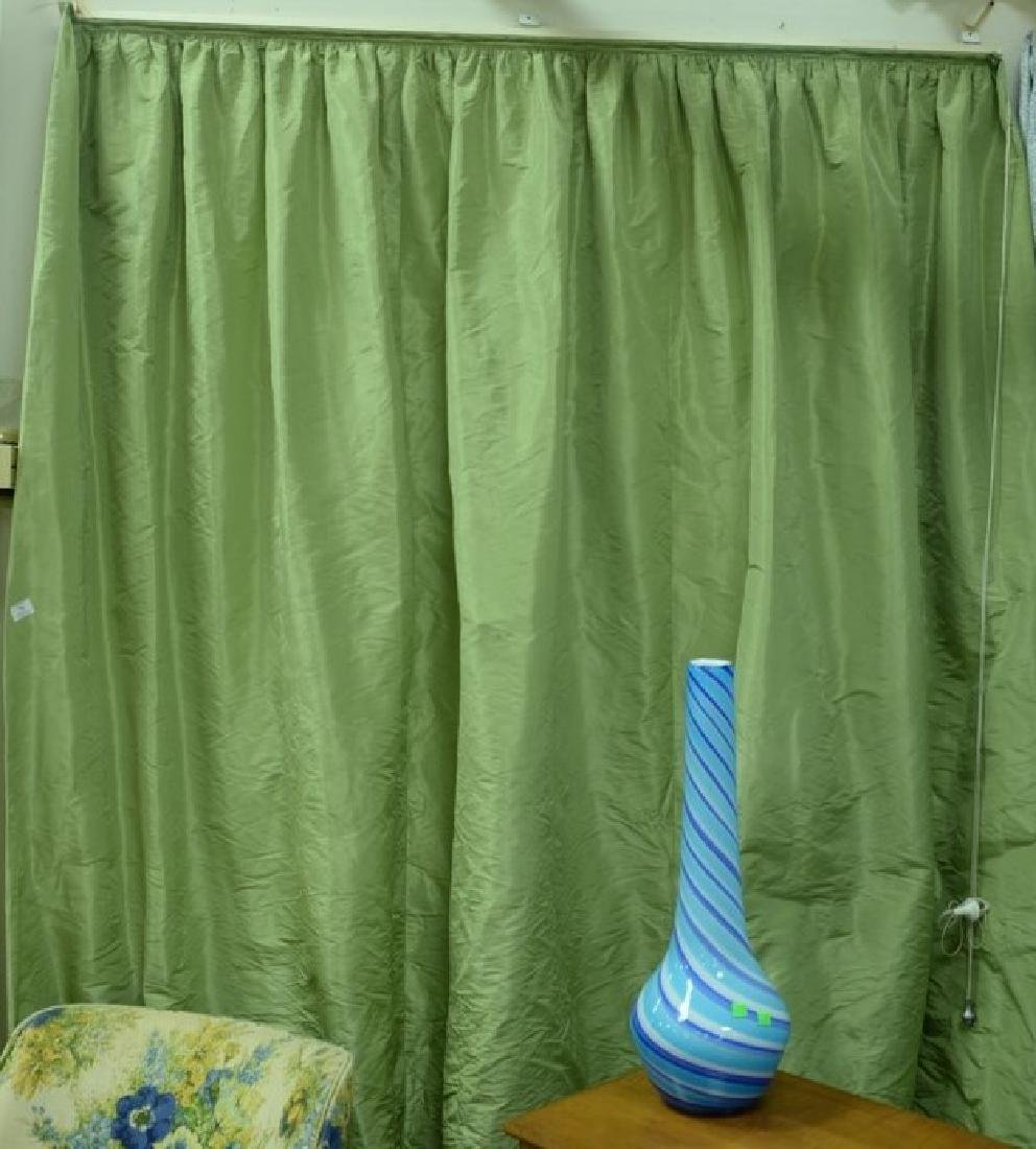 Custom green silk drapes, lined curtains, window - 2