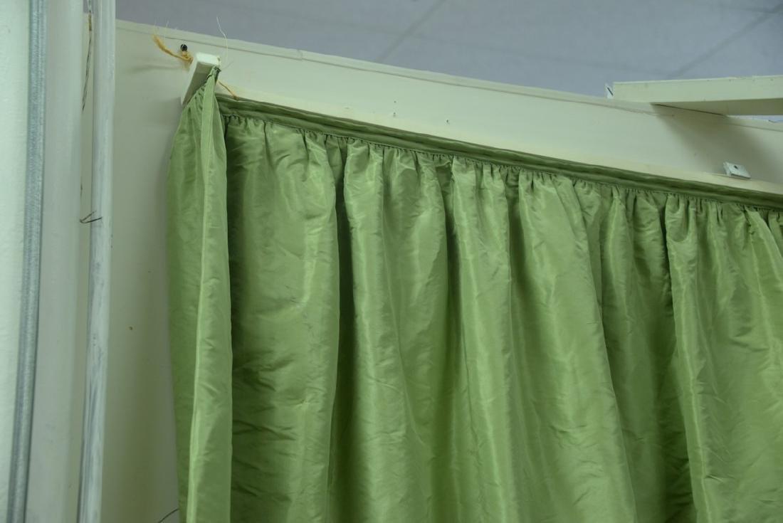 Custom green silk drapes, lined curtains, window - 3
