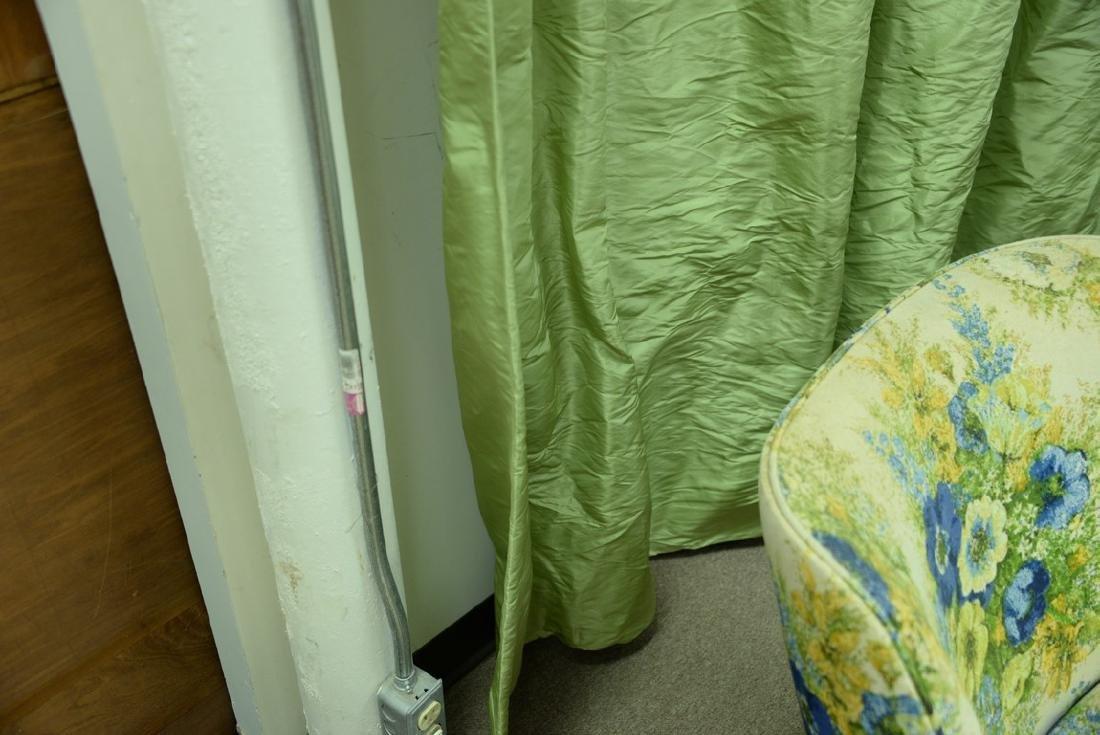Custom green silk drapes, lined curtains, window - 4