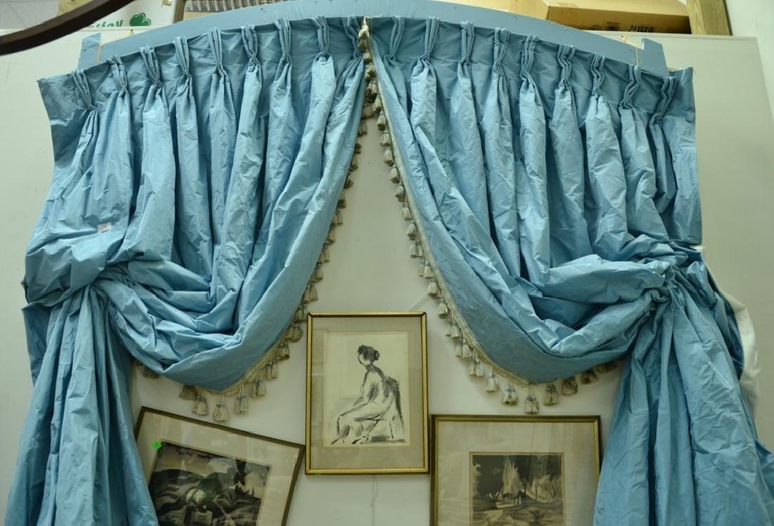 Custom blue silk drapes, lined curtains , window or
