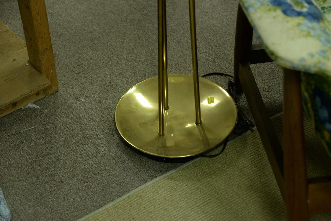 Brass tripod torchiere lamp, shade signed Gill LS. ht. - 3