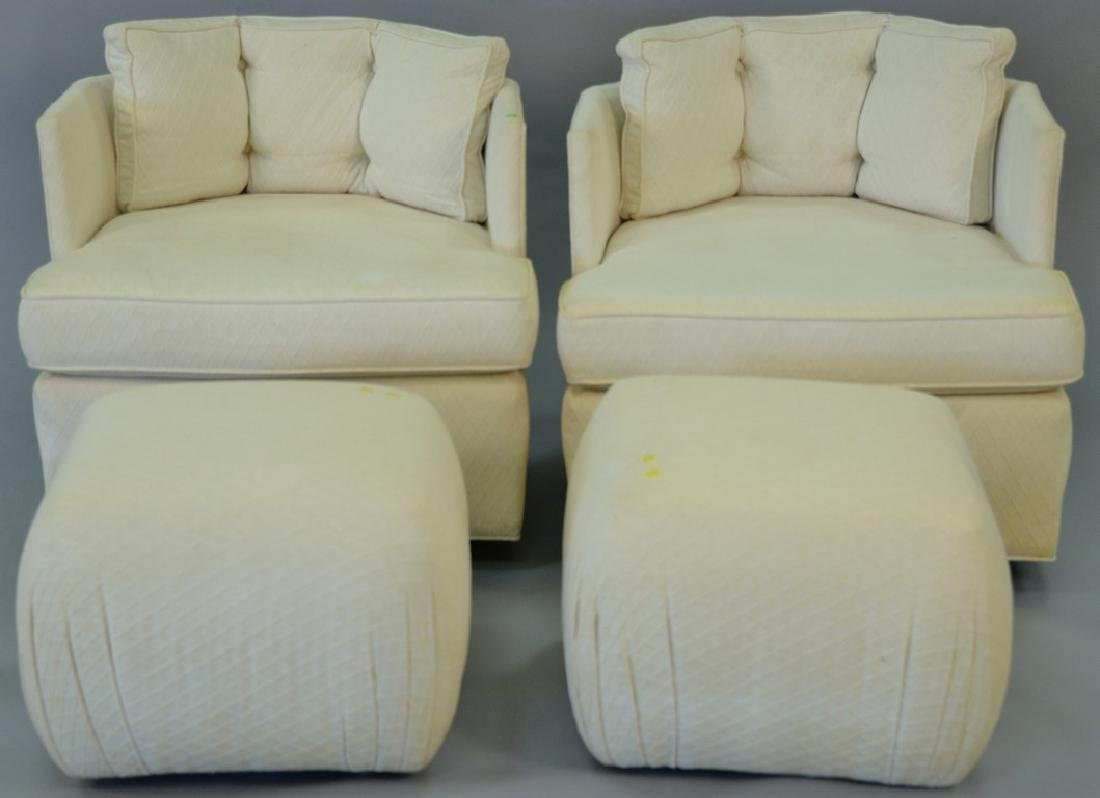Pair of Harvey Probber style Mid-Century swivel chairs