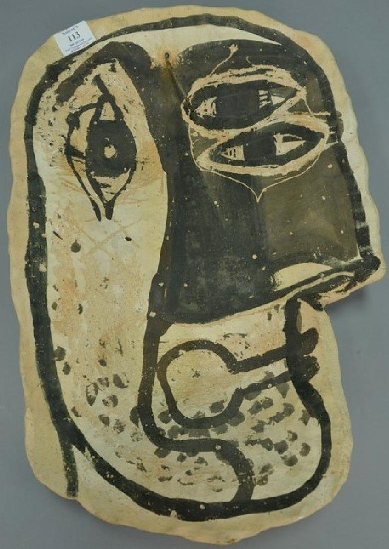 Clay plaque in the style of Picasso, signed illegibly