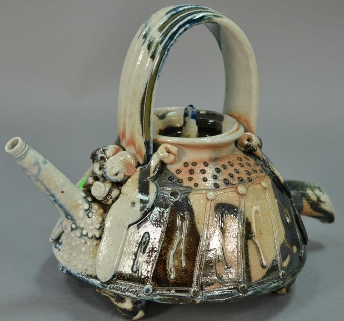 William Warehall ceramic teapot on duck head feet. ht.