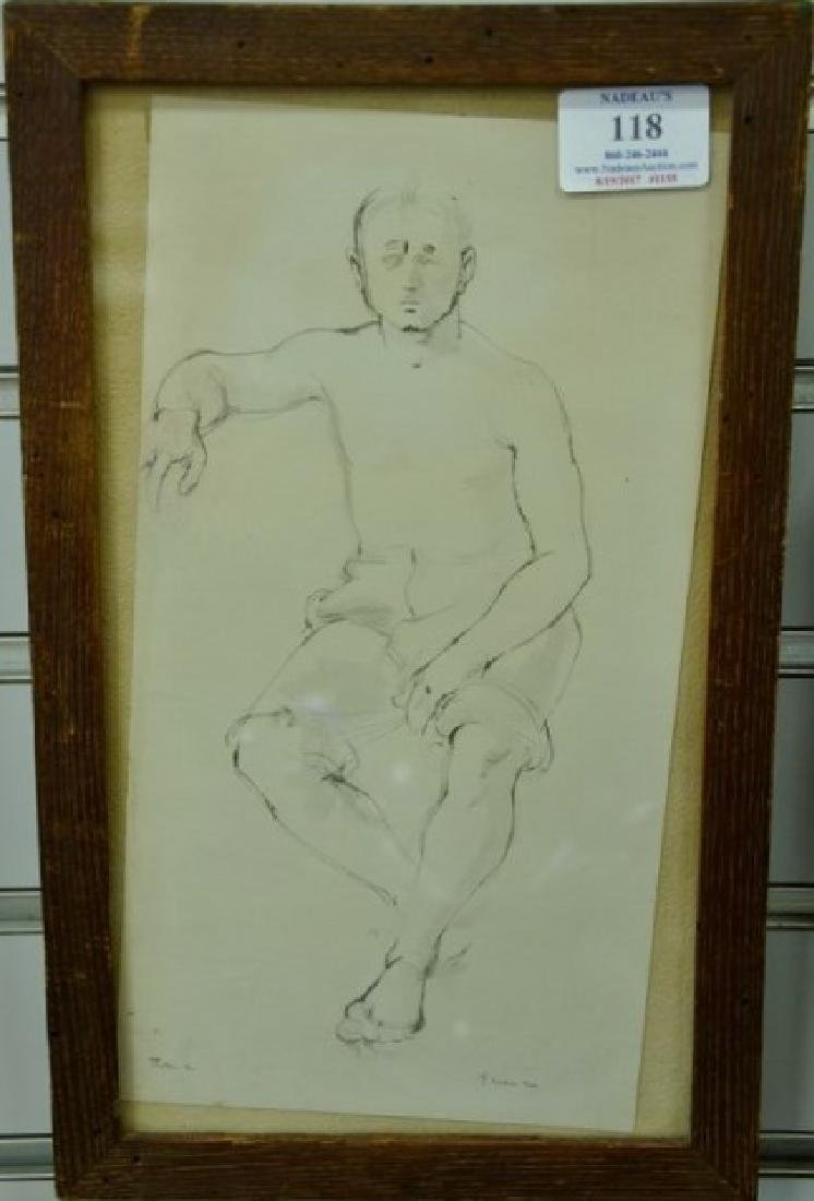 Stephen Greene (1917-1999), ink sketch of a man, seated