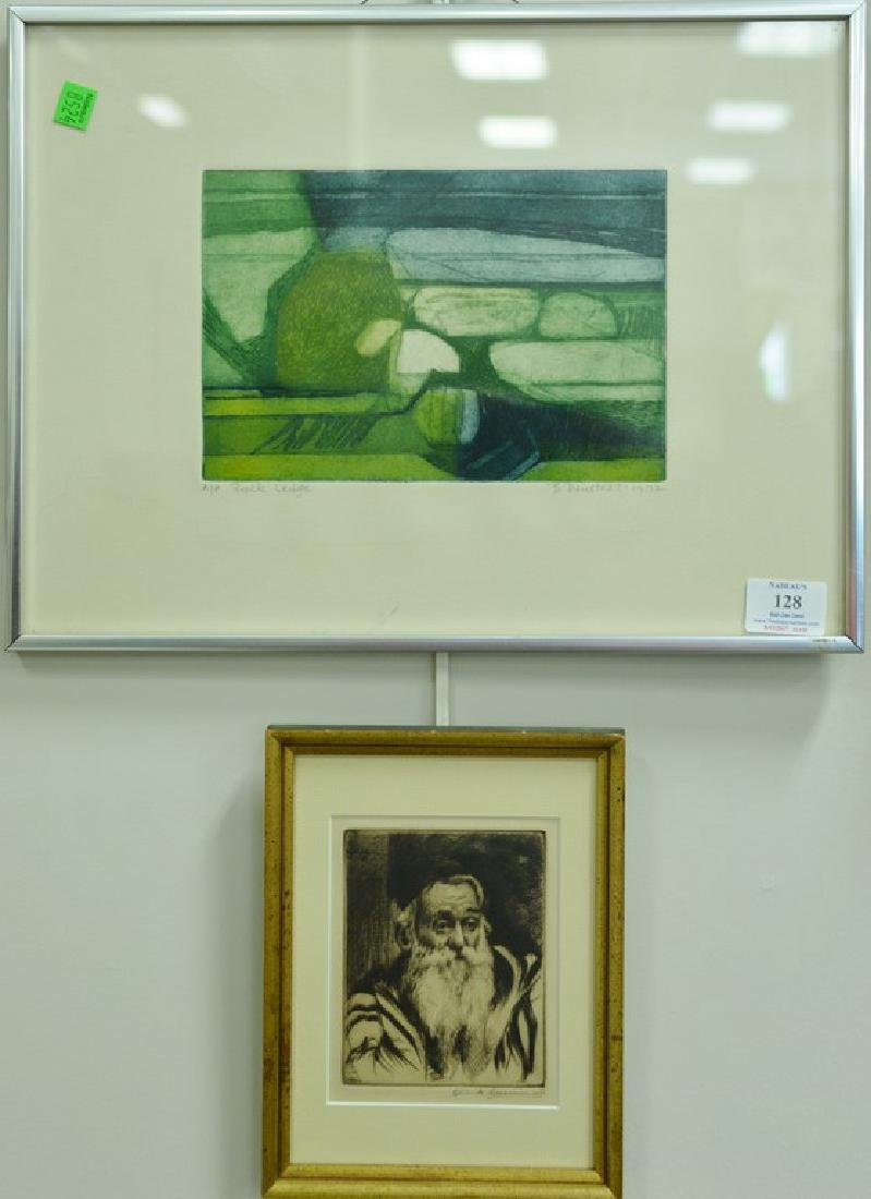 Group of five framed lithographs and etchings to