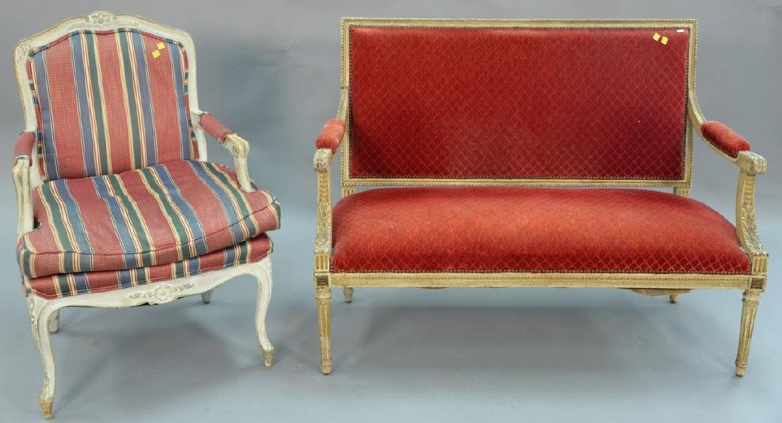 Two piece lot to include Louis XVI French style settee