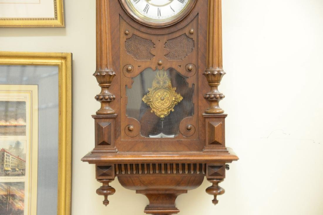 Vienna regulator clock with enameled dial. ht. 48in., - 3