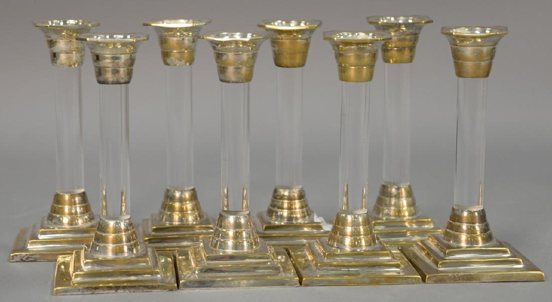 Set of eight Mid-Century silver and lucite