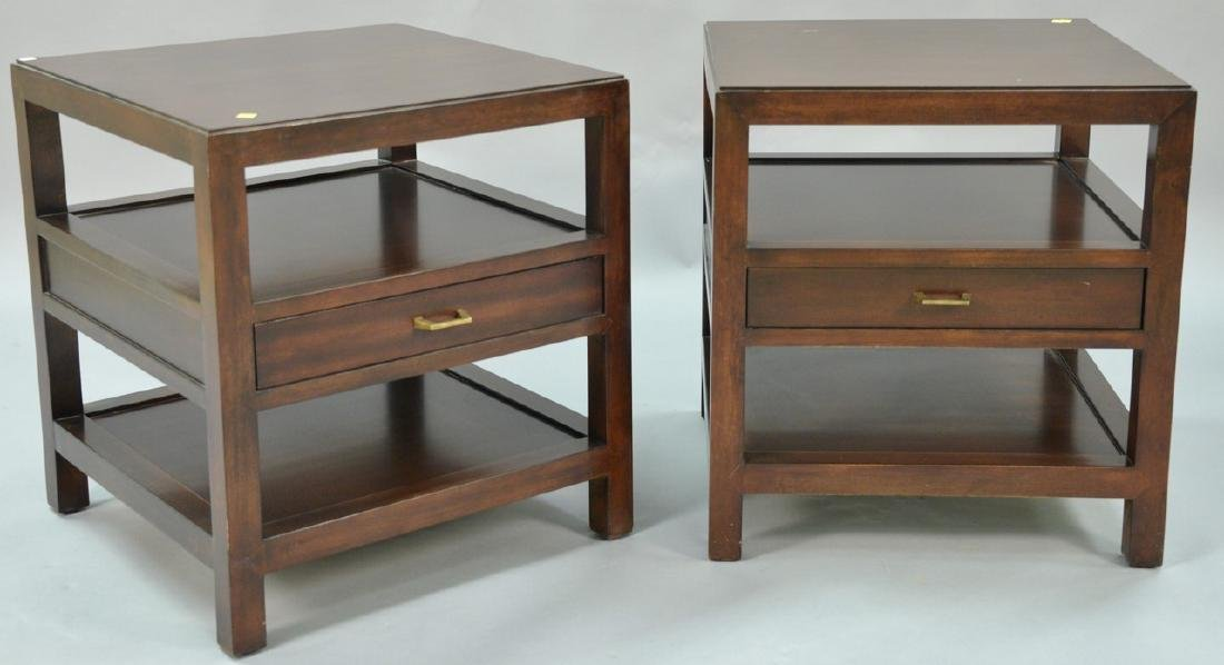 """Pair of Bernhardt mahogany tables. ht. 26in., top: 24"""""""