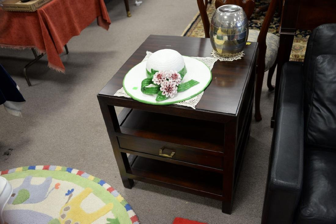 """Pair of Bernhardt mahogany tables. ht. 26in., top: 24"""" - 2"""
