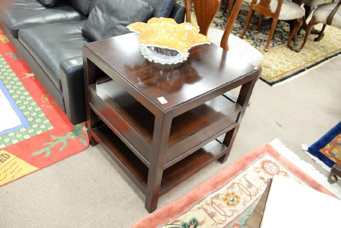 """Pair of Bernhardt mahogany tables. ht. 26in., top: 24"""" - 4"""