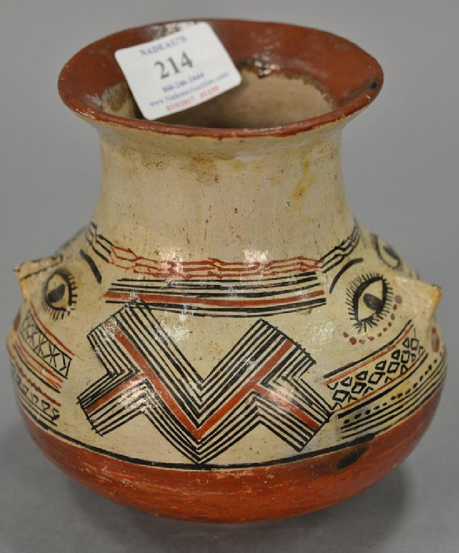 Indian pottery vase, possibly Shipibo polychrome with a