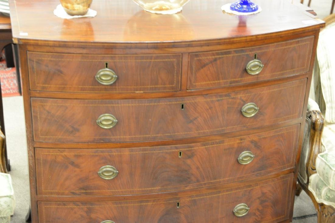 Federal mahogany two over three drawer bow front chest, - 4