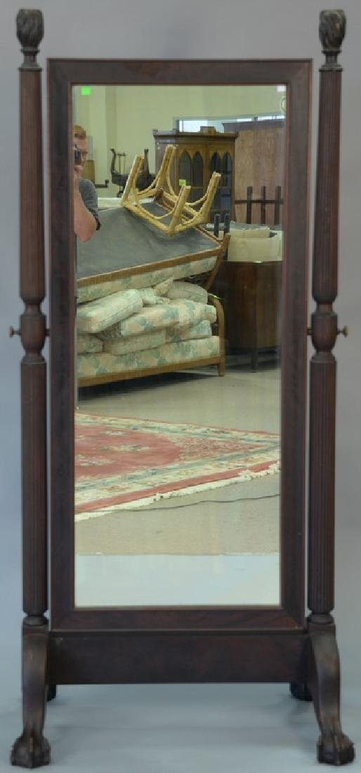 Mahogany Chippendale style cheval mirror with ball and