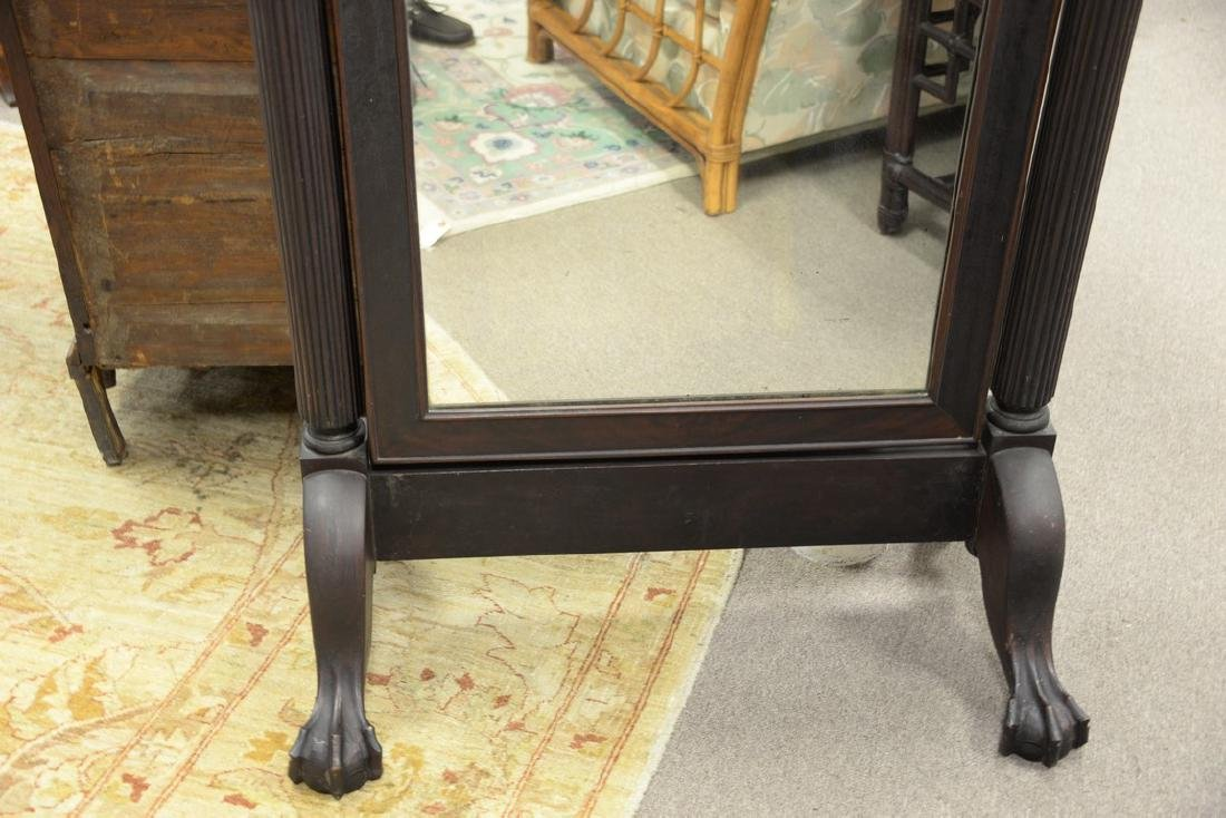 Mahogany Chippendale style cheval mirror with ball and - 4