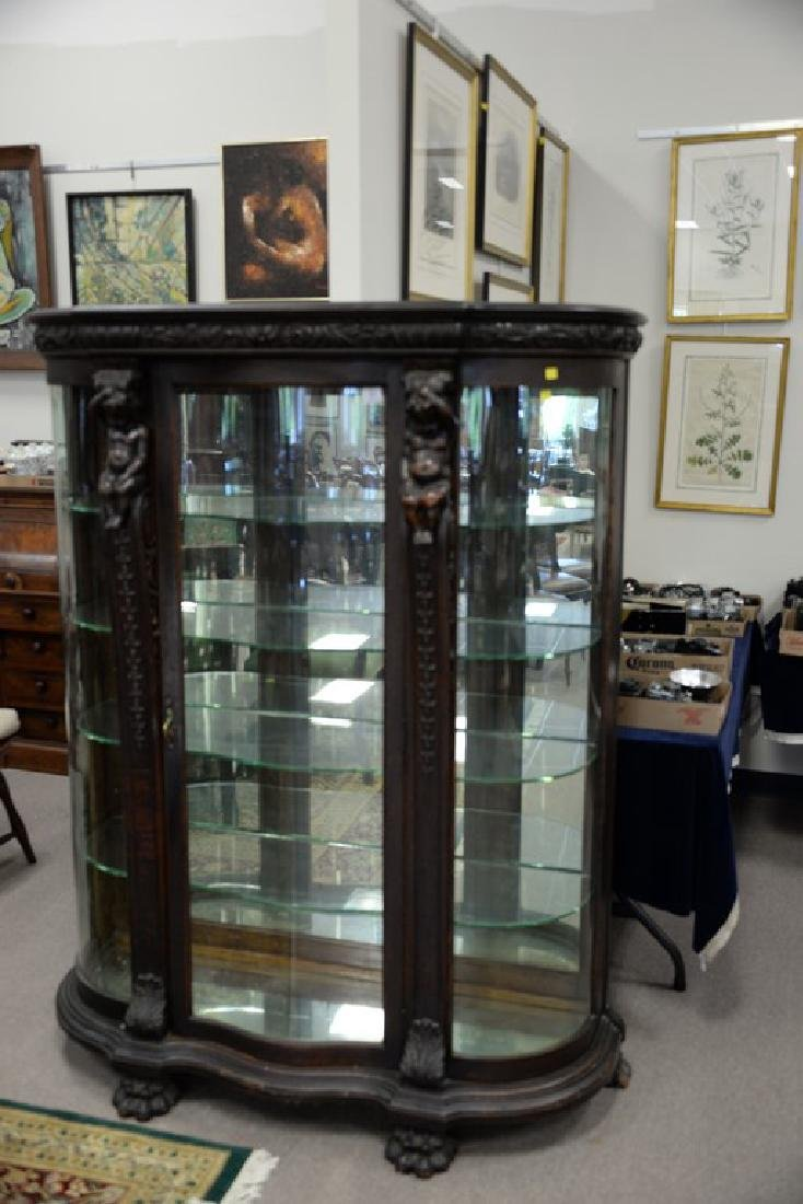 Oak crystal cabinet with serpentine front glass and - 2
