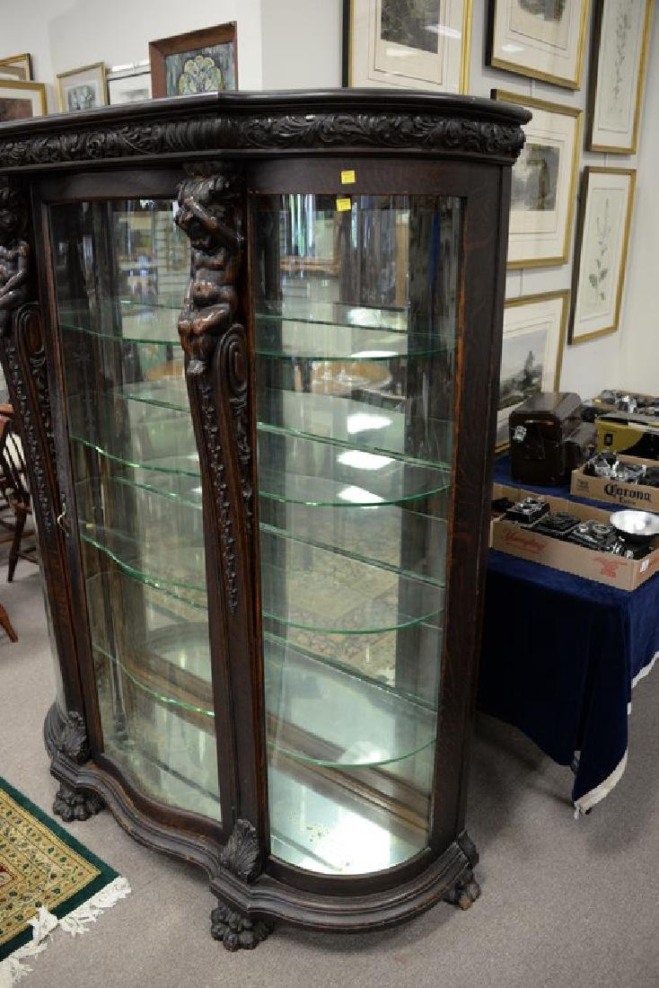 Oak crystal cabinet with serpentine front glass and - 6