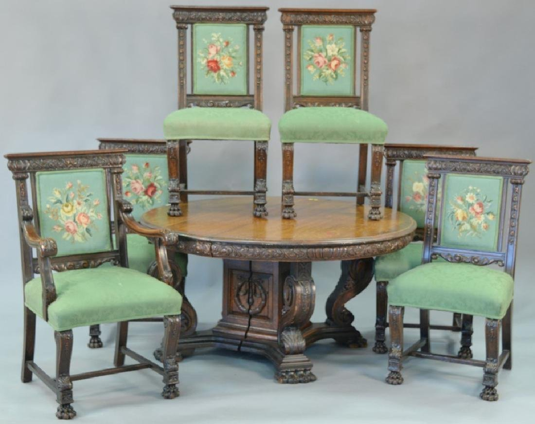 Seven piece oak dining set to include round oak table