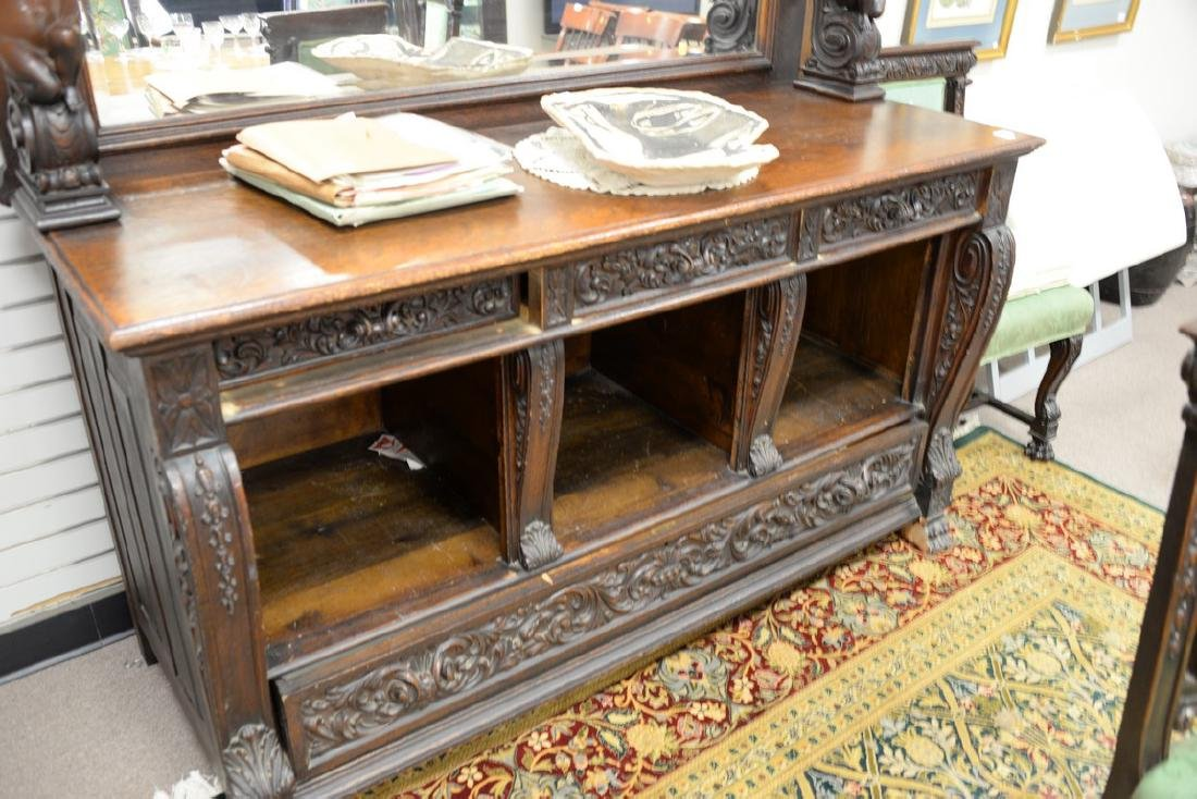 Oak sideboard with mirror back and putti shelf supports - 3